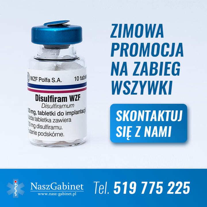 opakowanie disulfiramu oraz informacja o jesiennej promocji na zabieg zaszycia alkoholowego